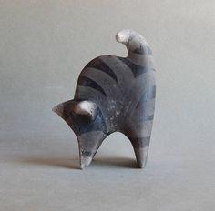 Ceramic sculpture Striped cat statuette art