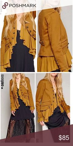 "Boho-Retro Military Frills Blazer/Jacket This beautiful peplum style blazer gives the trendy military look a feminine twist. It's fully lined and features etched brass buttons. It can be used as a jacket or layering piece. Color is antique gold, bust-36.5"", length-19.5"", sleeve-23"" Jackets & Coats Blazers"