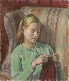 Girl Knitting (Portrait of Felicia, the Artist's younger Daughter)  HENRY LAMB