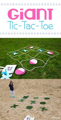 Summer means backyard and picnic games! You can easily make this GIANT tic-tac-toe game for the whole family to enjoy this weekend! http://www.ehow.com/how_12343298_create-giant-tictactoe.html?utm_source=pinterest.com&utm_medium=referral&utm_content=freestyle&utm_campaign=fanpage
