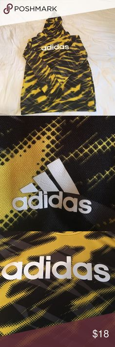 Adidas yellow,black and grey hoodie Has some wear on the front Adidas logo due to washing adidas Shirts & Tops Sweatshirts & Hoodies