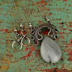 Lyonesse Pendant, Amazonite, Silver Wire Wrapped Pendant, Teardrop Pendant, Handwoven Silver Pendant, Door 44 Jewelry, Made in Colorado