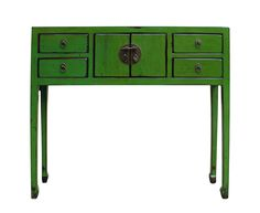 Chinese Distressed Green Console Table On Chairish.com