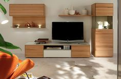 Choosing The Right Creative TV Stand Ideas for Our TV Room: Multipiece Smooth Wood Media Group With Creative TV Stand Ideas ~ Furniture Inspiration