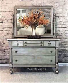 Vintage Furniture Dresser with attached mirror, Victorian style dresser with mirror - Cream Bedroom Furniture, Dresser Furniture, Entryway Furniture, Cheap Furniture, Furniture Projects, Rustic Furniture, Vintage Furniture, Painted Furniture, Home Furniture
