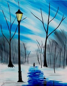 104 Fahrenheit and thinking about a Winter Stroll. Winter Painting, Winter Art, Mini Canvas Art, Pastel Art, Pictures To Paint, Beautiful Paintings, Painting Inspiration, Watercolor Paintings, Painting Abstract