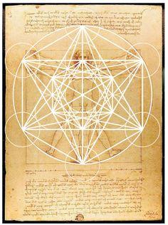Hombre de Vitruvio, Leonardo da Vinci con Cubo Metatrón