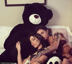 Heating up: Ruby Rose cuddled up to her girlfriend Jessica Origliasso as they lazed around in bed together while dressed in lace lingerie in her latest social media post