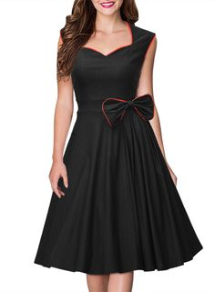 Miusol® Women's Vintage Square Neck Sleeveless With Bow Evening Prom Dress at Amazon Women's Clothing store: http://www.amazon.com/gp/product/B016D446II?ie=UTF8&camp=1789&creativeASIN=B016D446II&linkCode=xm2&tag=onlythebestga-20