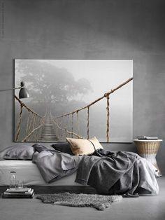BJÖRKSTA afbeelding | IKEA IKEAnederland wooninspiratie inspiratie slaapkamer grijs grijstinten tint beige
