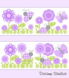 PURPLE BUTTERFLY LADYBUG Decals Girl Floral Wallpaper border Wall Art Stickers Decor