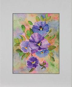 "Original Watercolor, ""Purple Flowers"", by Susan Marie Fairclough, Matted 20X16"