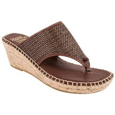 Andre Assous Women's Addie Leather Thong Sandals ($169) ❤ liked on Polyvore featuring shoes, sandals, brown, woven leather sandals, slip on wedge sandals, brown sandals, brown wedge sandals and leather thong sandals