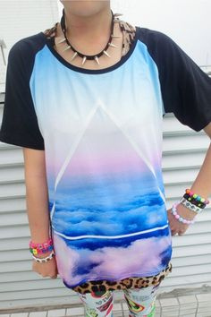 Loose Color Block Blue Sky Tee OASAP.com