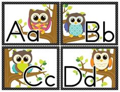 Word Wall Letter Large Labels: Owl Themed image 2