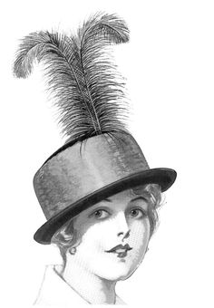 Click on Images to Enlarge These are 3 Fancy Ladies Hats from an Edwardian Fashion Catalog! The two on the top have some large Ostrich Plumes on them and the bottom one has a giant Bow. So fun!