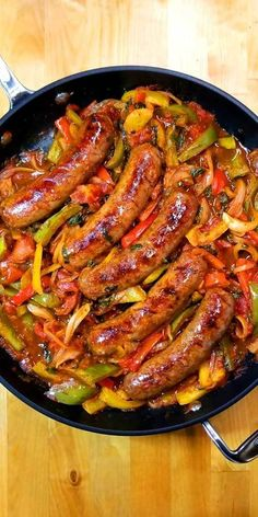 Italian Sausage Peppers and Onions - Quick easy and delicious one skillet dinner! This recipe forItalian Sausage Peppers and Onions is so versatile. You can have it over mashed potatoes pasta polenta cauliflower rice or as an Italian sub sandwich. Sausage Recipes For Dinner, Italian Sausage Recipes, Easy Dinner Recipes, Easy Meals, Italian Sausage Sandwich, Sausage Meals, Dinner Ideas, Easy Italian Recipes, Italian Dinners