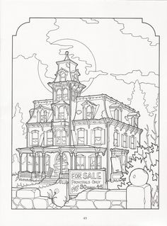 Albüm Arşivi - The Victorian House coloring book House Colouring Pictures, House Colouring Pages, Coloring Book Pages, Printable Coloring Pages, Coloring Sheets, Stencils, Sketch Painting, Victorian Homes, Colorful Pictures