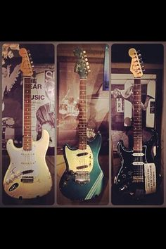 Kurt Cobain of Nirvana 2 Fender Strat Guitars and Teen Spirit Mustang.