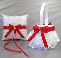 Scarlet Red Wedding Bridal Flower Girl Basket and by evertonbridal