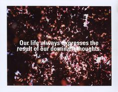 """""""Our life always expresses the result of our dominant thoughts."""" May 12, 2010 by Parker Fitzgerald, via Flickr"""