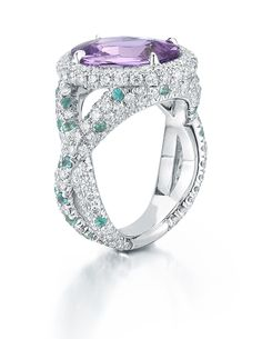 Paolo Costagli Purple-Pink Sapphire, Paraiba Tourmaline and Diamond Ring - Photo courtesy of Paolo Costagli