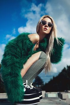 Rad blonde green fashion model photography