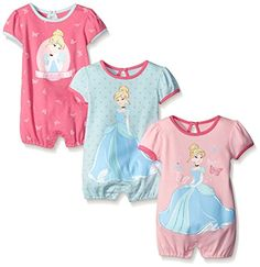Disney Baby Cinderella 3 Pack Rompers Pink 6 Months -- To view further for this item, visit the image link.