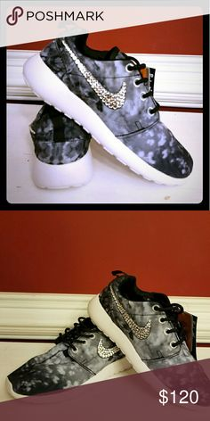 Customized Nike Roshe Customized Moonlight  Nike Roshe with Genuine Swarovski Crystals  Brand New with Box Available in many sizes Nike Shoes Athletic Shoes