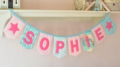 Personalised padded name bunting - pink and mint / aqua