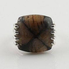 "Chiastolite ""Cross Stone"" Sterling Silver Ring"