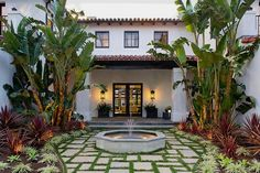 close upExterior of a Spanish revival style home in Los Angeles