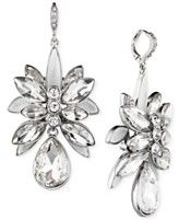 Givenchy Rhodium-Tone Frosted Crystal Drama Drop Earrings