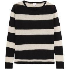 Iris and Ink Striped cashmere sweater ($155) ❤ liked on Polyvore featuring tops, sweaters, black, cashmere top, stripe cashmere sweater, cut loose tops, wool cashmere sweater and stripe top