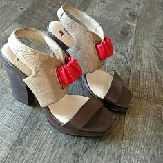 """Weekend sale! Anthropologie farylrobin heels Sturdy heels with reddish-coralish elastic band for an easy walk. These are adorable. 4.5"""" heel with 1"""" platform. Really neat detailed heels with cutout at heel tops. Anthropologie Shoes Heels"""
