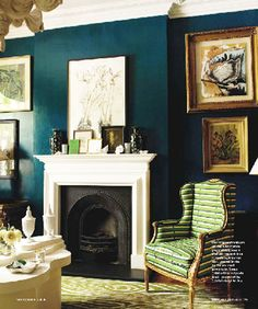 Dark Teal room with white trim, added color accents... excellent!