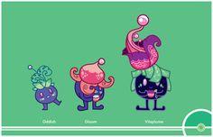 Pokemon Redesigns #043-044-045 - Oddish, Gloom, Vileplume
