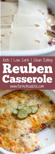 This Low Carb, Keto Reuben Casserole combines all the wonderful elements of a Reuben sandwich except the bread. And trust me, you won't even realize it's not there. All the flavors and textures combine perfectly into a creamy, cheesy, hot and bubbly bowl of tasty low carb goodness. (Thirty-one grams of fat and fewer than 5 net carbs per serving!) #keto #lowcarb #lchf #farmsteadchic | www.farmsteadchic.com