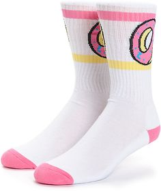 Treat your feet to some tasty fresh style with these lightweight and stretchy crew socks that flaunt an Odd Future donut graphic on the ankle cuffs.