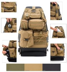 Tactical Car GEAR Tan Front Seat Cover Smittybilt GEAR Tan Front Seat Cover is designed with five different pouches that is fastened using a Molle and Pals Restraint System. It is made from 600 denier polyester with a PVC liner and is highly durable. This seat cover allows to add, remove or place modular pouches anywhere and ensures easy installation.