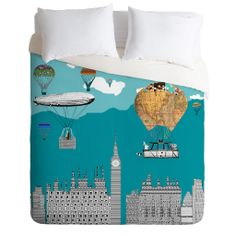 Brian Buckley Adventure Days London Duvet Cover | DENY Designs Home Accessories  I like this one for Janice Mushroom!!