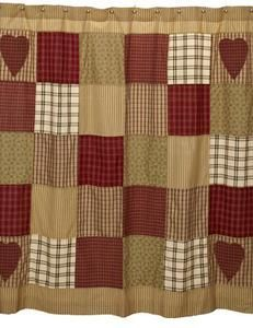 Primitive Country Heartland Fabric Shower Curtain Burgundy Tan Hearts New | eBay