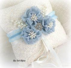 Ring Bearer Pillow Bridal Wedding White Blue Dusty by SolBijou