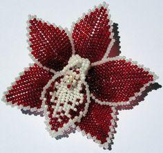 Beaded orchid flower hair barrette  / brooch - custom order