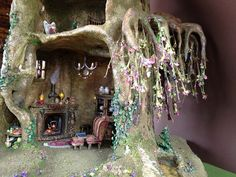 This is a beautiful faery house! Fairy house tree trunk dollhouse miniature by Torisaur Fairy Village, Fairy Tree, Tree Tree, Fairy Garden Houses, Gnome Garden, Fairy Dust, Fairy Land, Fairy Room, Kobold