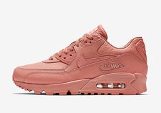 """Nike's luxurious """"Pinnacle"""" coating now graces the Air Max 90 in a women's specific shade. The Nike Air Max 90 Pinnacle """"Rose Pink"""" boasts a rosy tonal upper with tumbled leather, giving the sneakers an ultra feminine look. Moda Sneakers, Air Max Sneakers, Sneakers Nike, Nike Shox, Nike Free Shoes, Nike Shoes Outlet, Nike Air Max 90s, 90s Shoes, Nike Basketball Shoes"""