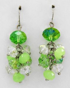 Jewelry - Green Glass Crystal Earrings$7.95 - I would wear these! :)