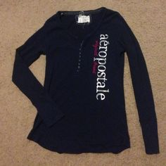 Aeropostale Long Sleeve Shirt Aeropostale long sleeve shirt, with Buttons at top. No stains! No holes! Great condition! As you can see, the tag is a little beat up! No other issues! Dark, Navy blue in color. Size Large. It runs a little small though. Aeropostale Other