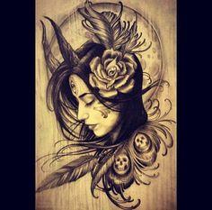 From a local tattoo artist.. My satanic, Native American spirit