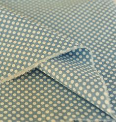 Linen Fabric/ Polka Dots Fabric/ Vintage Blue Red by fabricmade